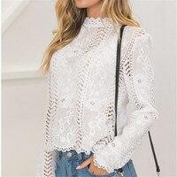 2019Women ladies blouse long sleeve white Lace hollow turtleneck blouse Top Summer Blouses Cap Elegant Blouse