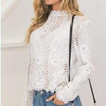 hirigin women ladies blouse long sleeve white Lace hollow turtleneck blouse Top Summer Blouses Cap Elegant Blouse for female
