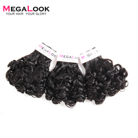 Megalook Bundles with Closure Rose Curl 3 Bundle with 4*4 Lace Closure Human Remy Hair Extensions Funmi Curly Weave 4 Pcs/lot