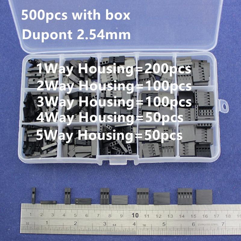 500 unids DuPont establece kit con 2.54mm pitch 2 P 3 P 4 P 5pin DuPont Housing plástico conchas terminal puente Alambres conector Set