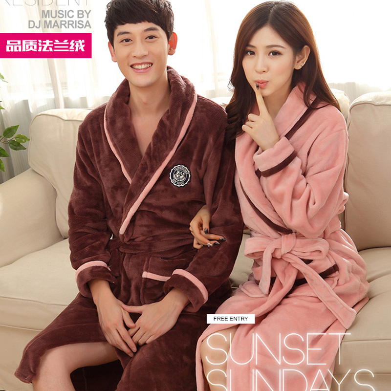 Robefemale autumn and winter thickening long-sleeve flannel bathrobe male lovers ultra coral fleece long nightgown ...