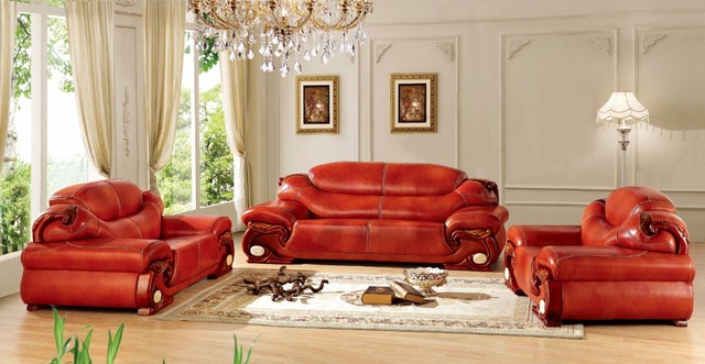 European Leather Sofa Set Living Room China Wooden Frame Sectional 1 2
