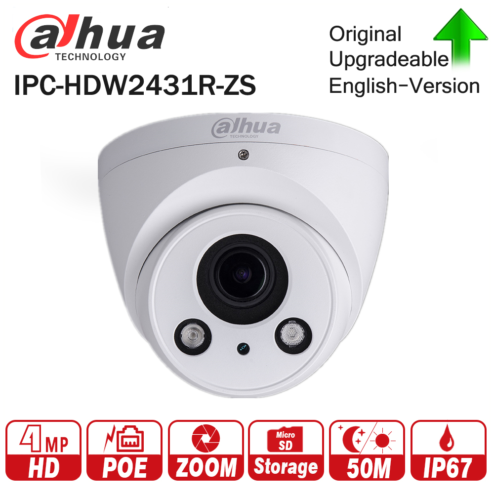 Dahua IPC-HDW2431R-ZS 4MP IR Eyeball Network IP Camera 2.7-13.5mm Varifocal Lens 50m IR Support Micro SD Card H.265 IP67 PoE h 265 264 ipc lwirdnts400s 4mp ip camera 2 8 12mm varifocal manual zoom lens 4mp ir 30m with sd card slot poe network camera