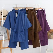 New spring 100% cotton Japan kimono for men pajamas sets simple short-sleeve sleep lounge Couple robe sets male sleepwear pyjama