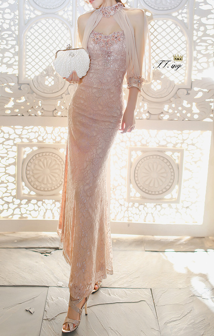 New pink long sweat lady girl women princess bridesmaid banquet party ball dress gown