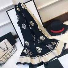 Bufandas de Cachemira de Invierno para mujer, pañuelo de Cachemira con estampado Floral de Camelia, chal grueso y cálido