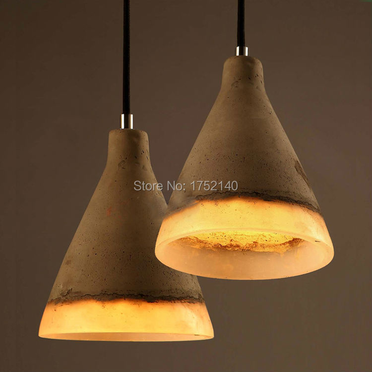 Cement chandeliers resin lampshade retro concrete loft for Lampe de bar cuisine
