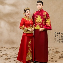 Chinese Couple wedding gown bride wedding dress ancient Groom dragon Robe cheongsam Man Woman Embroidered red Couple clothes все цены