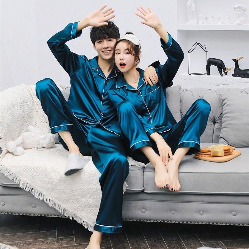 Ice Silk Satin Lovers   Pajama     Sets   Brand Quality Couple Pjs Home Suit Spring Sleepwear Cardigan Long Sleeved Unisex   Pajama     Sets