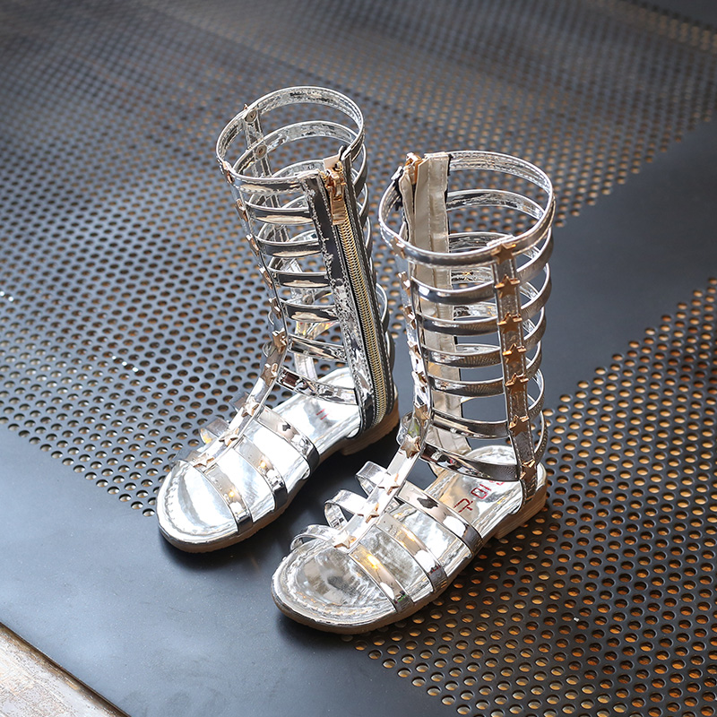 J Ghee 2017 Summer New Fashion Girls Sandals Roman Style Gladiator Shoes For Kids Bright Skin