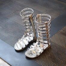 J ghee 2017 d'été nouvelle mode filles sandales de style romain gladiateur Chaussures Pour Enfants Lumineux Peau Avec Étoiles Enfants Chaussures 26-35