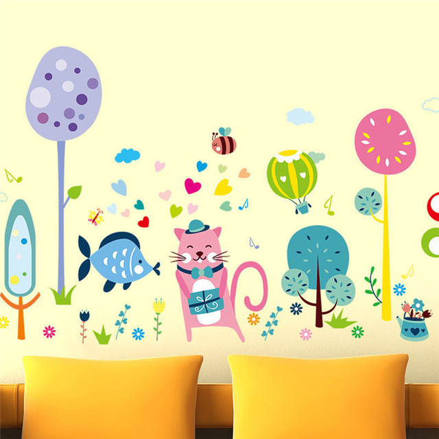 Cute Colorful Cartoon Cat Wall Sticker Self adhesive DIY Wallpaper ...