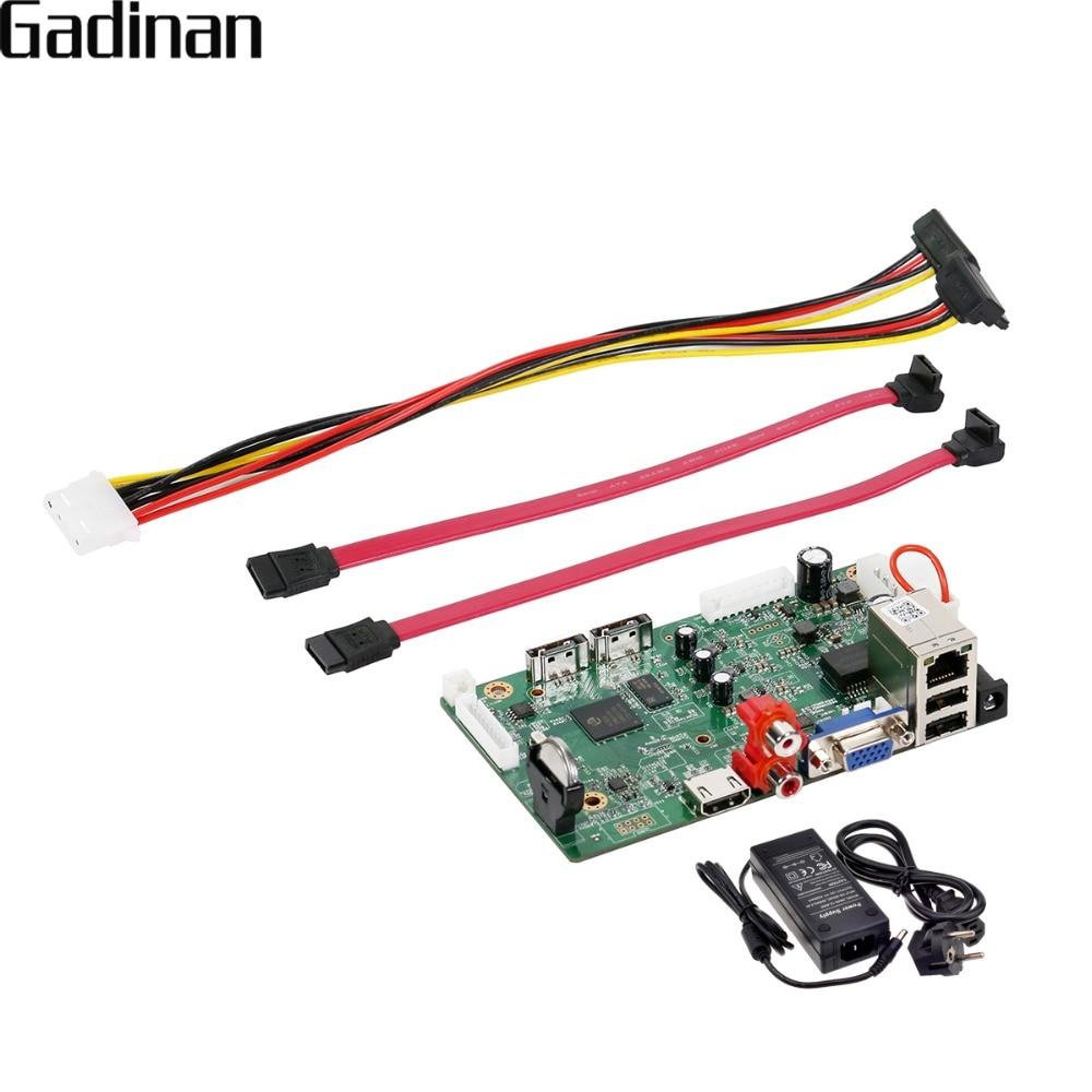 Gadinan h.265/h.264 nvr placa 25ch * 5mp 32ch * 1080 p rede gravador de vídeo digital 2 sata max 8 t onvif p2p cms xmeye com 12 v 4a