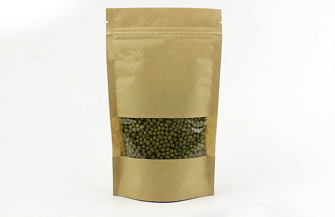 1000pcs lot 9x14 3cm Brown kraft paper bag with window stand up Zipper zip lock Jewelry