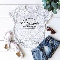 Плюс Размеры S-5XL новый прекрасный кот футболка с буквенным принтом Для женщин 100% хлопок O шеи короткий рукав Летняя футболка Топы повседневн...