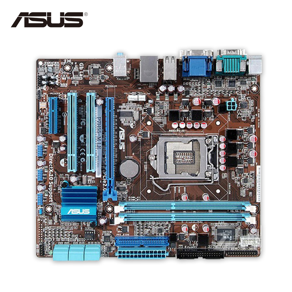 Asus P7H55-M LE Original Used Desktop Motherboard H55 Socket LGA 1156 i3 i5 i7 DDR3 8G HDMI DVI VGA uATX original new desktop motherboard for asus p7h55 m usb3 h55 support socket lga 1156 i7 i5 i3 maximum ddr3 16gb sata2 2 usb3 uatx