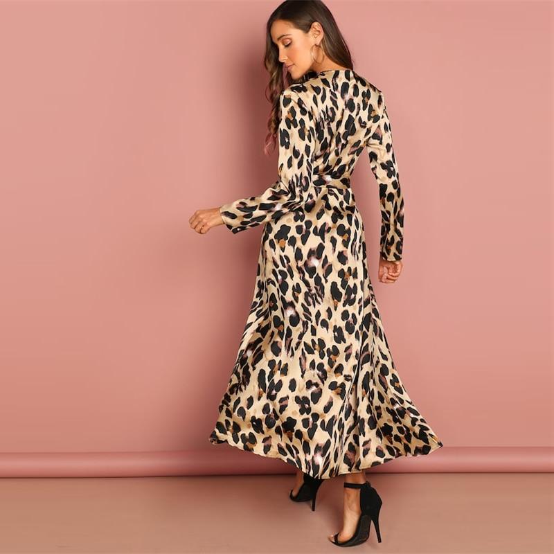 COLROVIE Deep V-Neck Surplice Wrap Satin Leopard Vintage Dress 2018 Long Sleeve Sexy Party Dress Ladies Fashion Long Dress 10