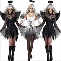 SexyHalloweenParty Adult Vampire Witch Darl WhiteAngel Ghost Bride Scary Cosplay CostumeAdultCostumeFancyDressClubwearParty Wear