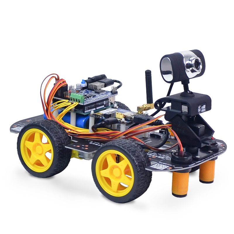 Xiao R DIY Smart Robot Wifi Video Control Car Kit With WiFi Module 2DB Antenna Camera Model Toy Robots Kids Science Models wifi lpb100 a eval kit lpb100 wifi module evaluation kit pcb antenna up to 5 tcp client connections free shipping