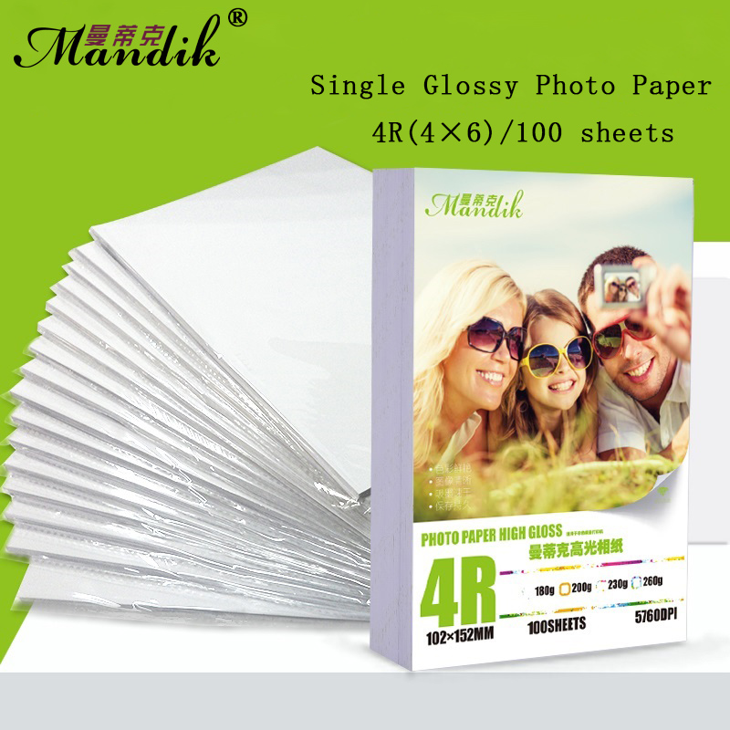 купить 100 sheets 4R 180g 200g 230g 260g glossy inkjet photo paper онлайн