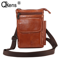 Man Messenger Bag Men Genuine Leather Shoulder Bag Business Crossbody Casual Bag Waist Belt Clip Wallet Case for Mobile Phones
