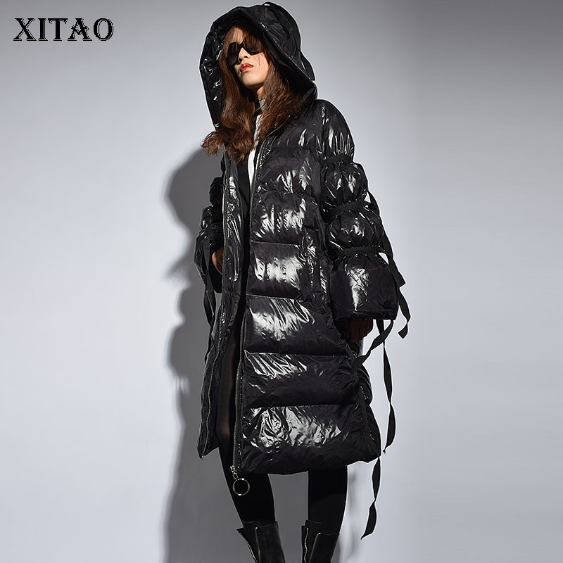 [XITAO] Women 2018 Winter Korea Fashion New A-line Full Sleeve Loose Coat Female Thick Casual Solid Color PU   Parka   ZLL2443