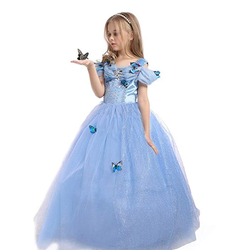 FINDPITAYA Girl Cinderella Dress Princess Costume Butterfly Kids Sleeveless Party Dresses Halloween Kids Pageant Cosplay Fantasy