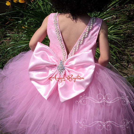 Bling Beading Pearls Crystals lovely Pink Lace flower girl dresses with Big bow wedding birthday parties Puffy tulle ball gowns new white ivory flower girl dresses for wedding 3d flowers puffy tulle with big bow girls first communion gowns
