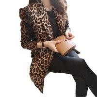 뜨거운 판매 봄 2018 여성 패션 재킷 슬림 전체 표범 인쇄 정장 재킷 여성 하나의 버튼 아우터 플러스 사이즈 M-3XL