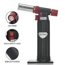Лучший 1300'C бутан фонарь Зажигалка струйная газовая зажигалка для кемпинга-на открытом воздухе, барбекю, кемпинг с нескользящей ручкой без газа