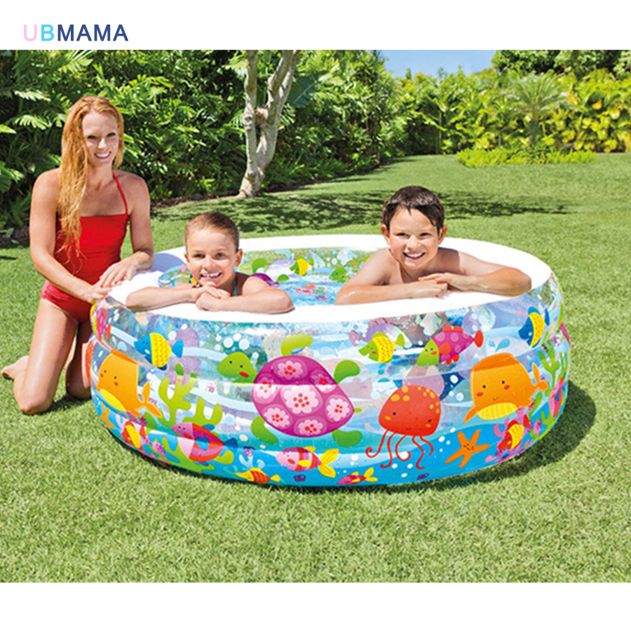 Cartoon pattern plastic inflatable 3 layer golden fish pool inflatable family swimming pool ocean pool bathtub inflated bottom