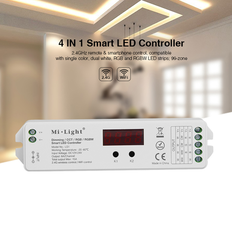 Mi.Light LS1 DC12V 24V 15A single color Dimming dural white CCT RGB and RGBW Dim/CCT/RGB/RGBW 4 in 1 smart LED controller|rgb cct|controller led rgbw|4 in 1 rgbw - title=