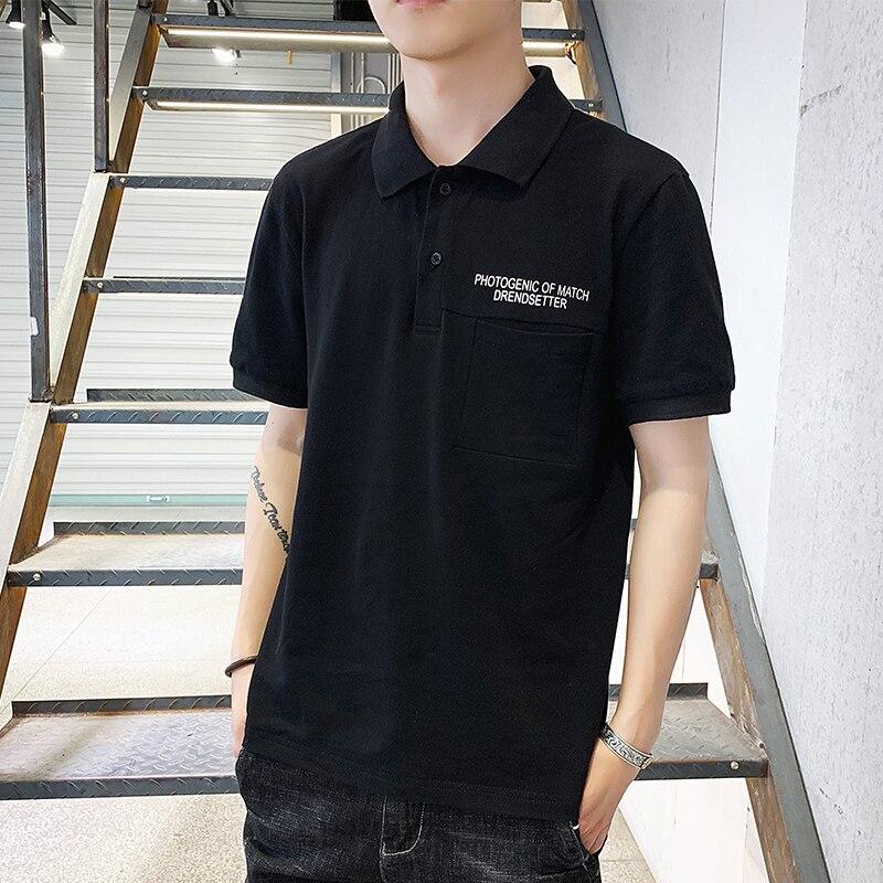 Classic Male   Polo   Shirt Letter Printing Men   Polo   Shirt Summer Casual Black White Gray   Polo   Shirts Man Short Sleeve