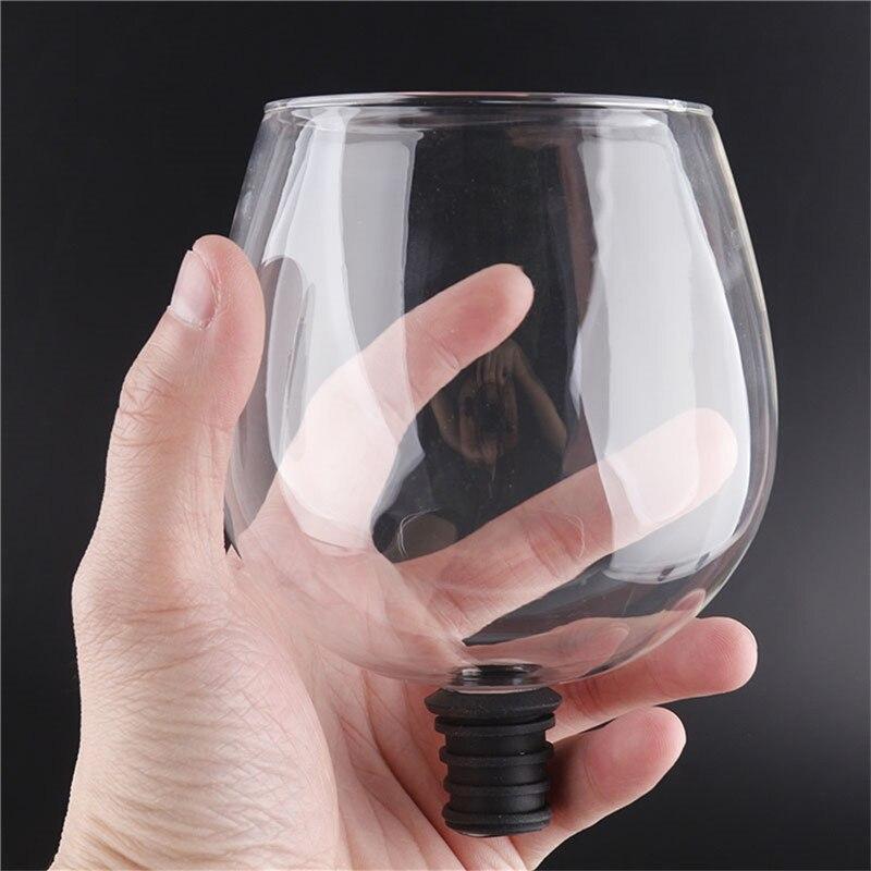 Criativa barware transparente direto para beber embalado em garrafa de vinho rolha de garrafa de vinho copo de vidro barra de ferramentas