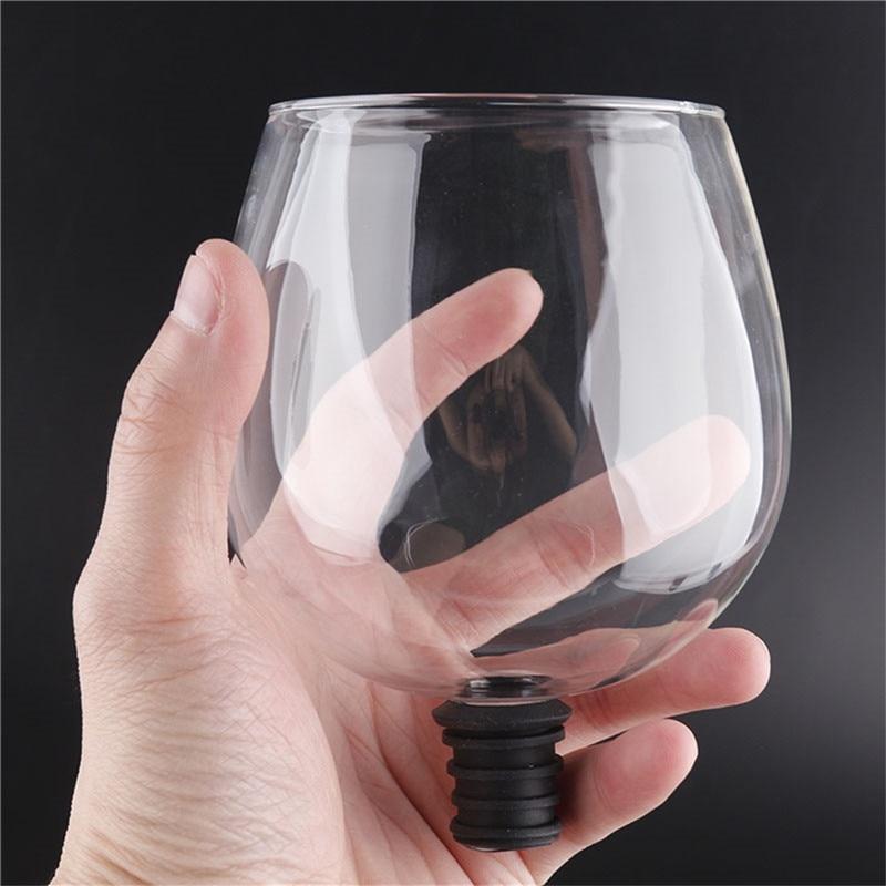 Criativo barware transparente direto para beber vinho decanter copo de vidro embalado em garrafa de vinho rolha barra ferramentas