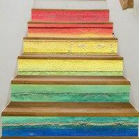 ZQSPFAFA Creative Rainbow Staircase Stickers Colorful Wood Grain Waterproof Craft Paper 2017 Fashion Brand DIY Home
