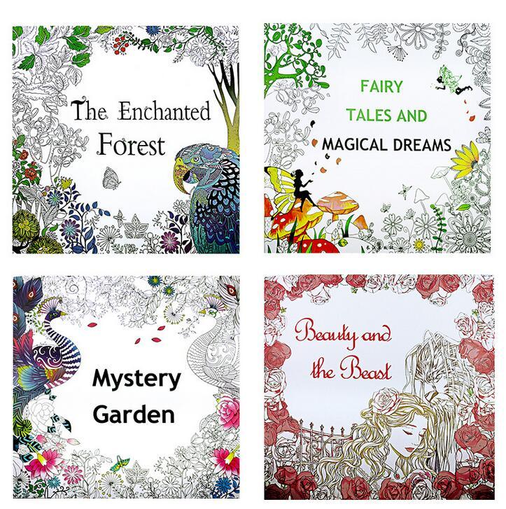 4Pcs/Lot Mystery Garden English Edition Coloring Bo