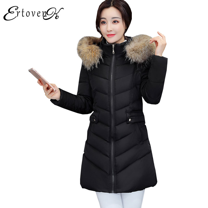 Fur collar 2017 parkas New Coat Winter Women Long Cotton Jacket Solid color Hooded Thicker Femmes Feather Padded Outerwear C56 2017 winter new clothes to overcome the coat of women in the long reed rabbit hair fur fur coat fox raccoon fur collar