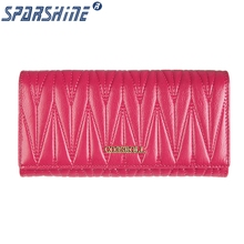 Women Wallet Genuine Cow Leather Purse Women Long Plaid Wallets Brand Designer Zipper Hasp Clutch Wallet Female Card Holder