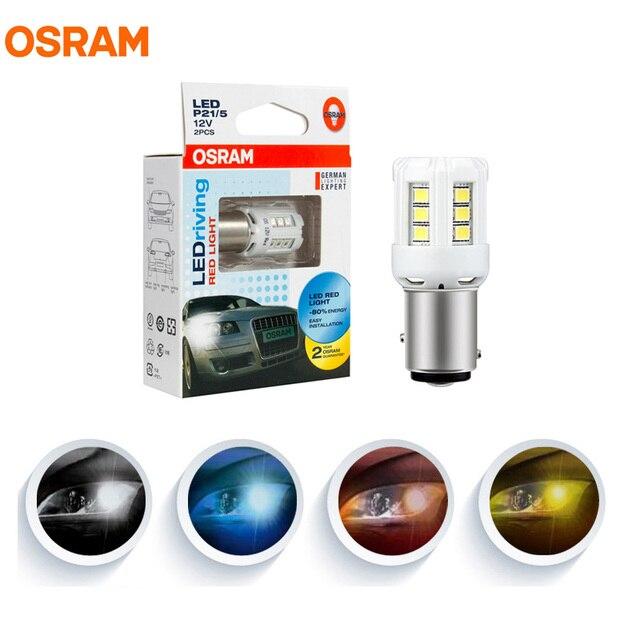 Osram lâmpadas de marcação para carro, lâmpadas led t10 t20 s25 w5w w21w p21w p21/5 w py21w ledrive par de luz interior do sinal