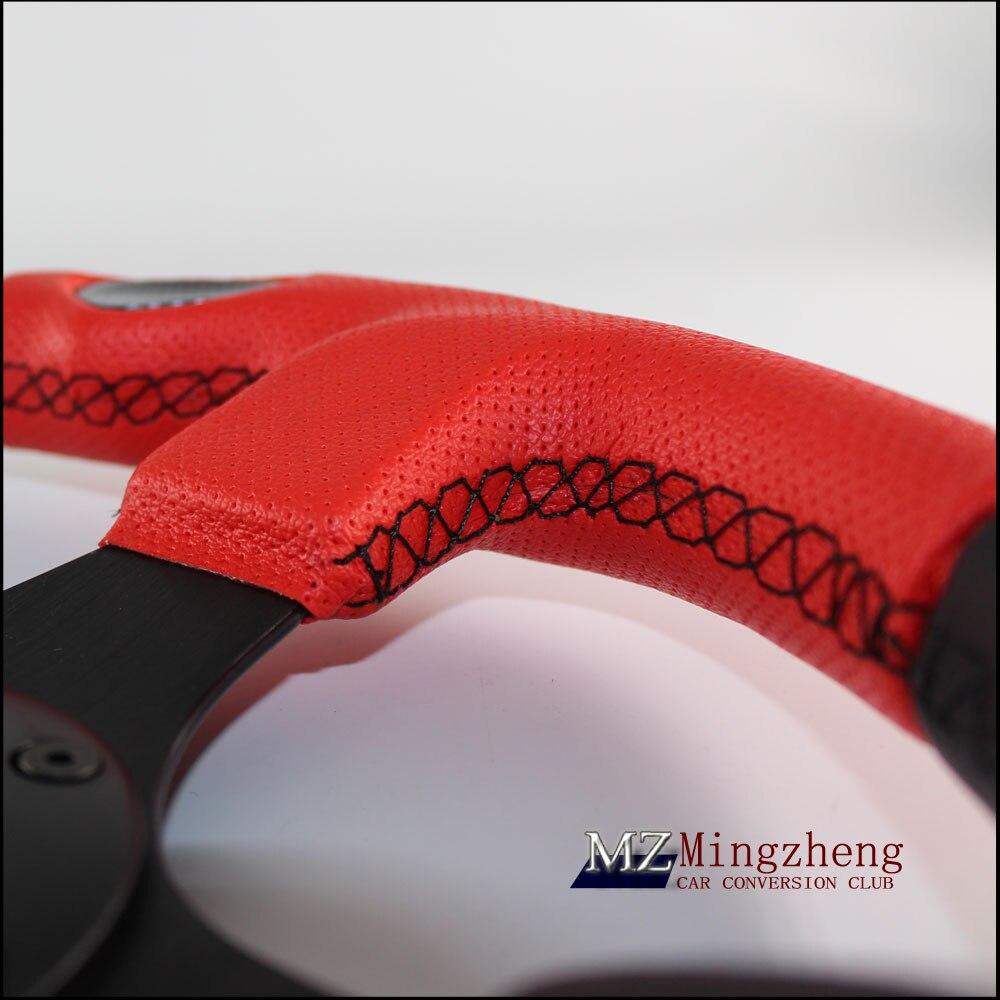 Спортивный руль 320 мм черный кожа + Красный спорт Drift спортивный руль