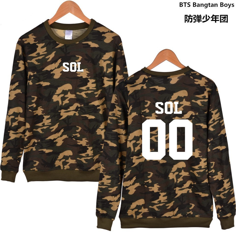 KPOP Bigbing Camouflage Capless Sleeve Letters Sweatshirt Women Hoodies Autumn GD D-dragon K-pop Hoodies Men Hip Hop Clothes