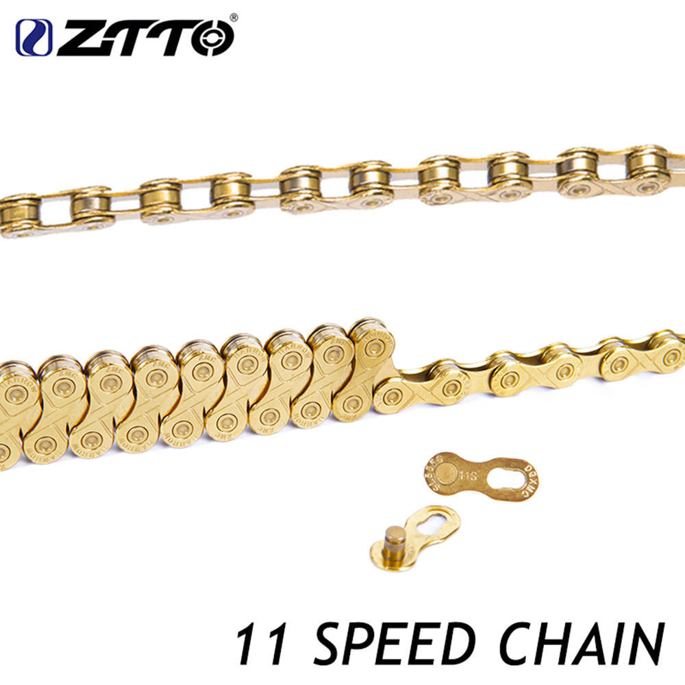 ZTTO 11 Speed Bike Chain MTB Mountain Road Bicycle 11s 22s Gold Golden Chains With Missing Link For Part K7 Bicycle Parts kmc missing link bicycle chain link 6 7 8s and 9 speed 10s 11s