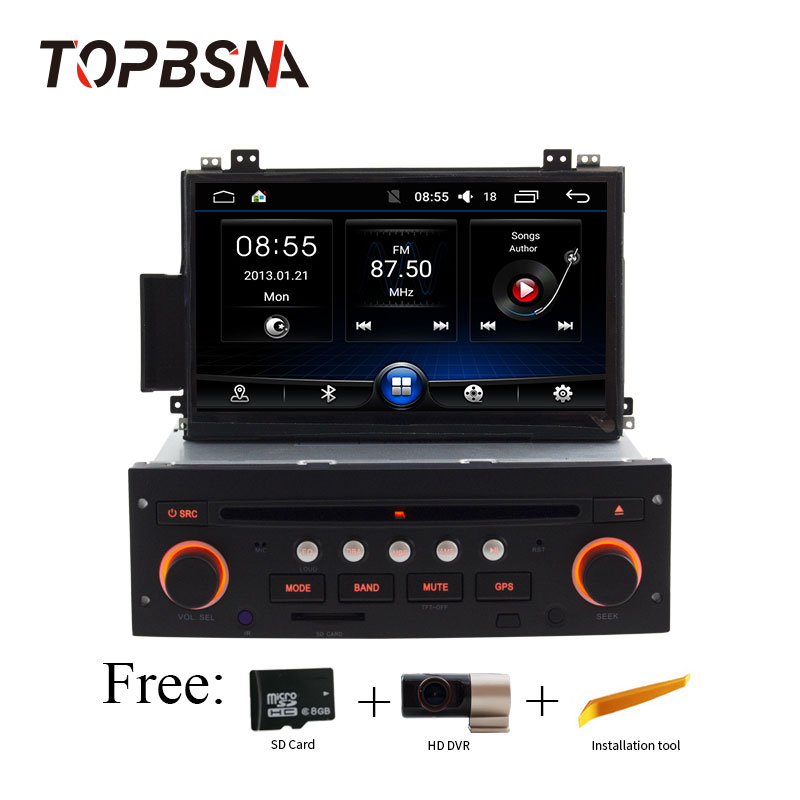 TOPBSNA 1 DIN Android 6.0 Pour Citroen C5 autoradio lecteur dvd GPS navigation bluetooth RDS cache de volant Contrôle WIFI GPS Navi