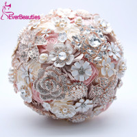 Wedding Bouquet Silk Wedding Flowers Rhinestone Jewelry Blush Pink Gold Broach Bridal Wedding Dress Brooch Bouquet 2019