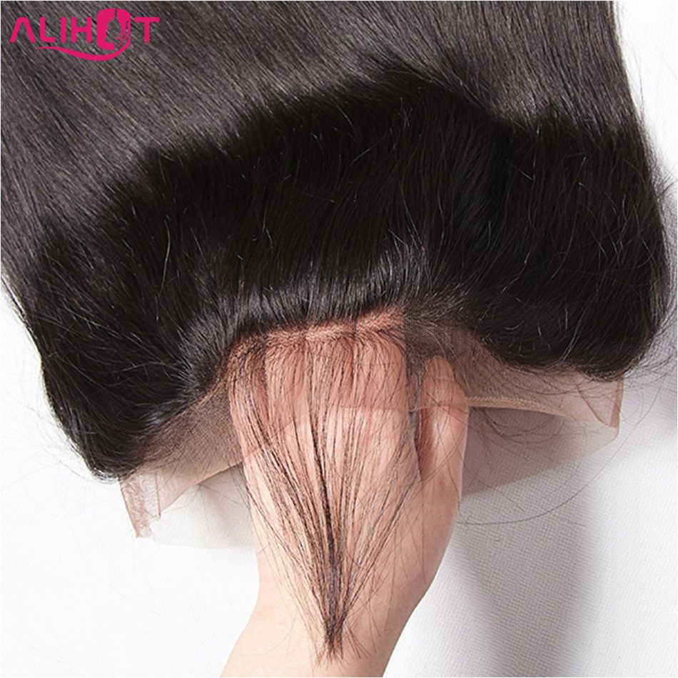 Али Горячие перуанские прямые волосы 360 кружева фронтальное Закрытие с волосами младенца Remy человеческих волос Бесплатная Часть натуральный цвет бесплатная доставка