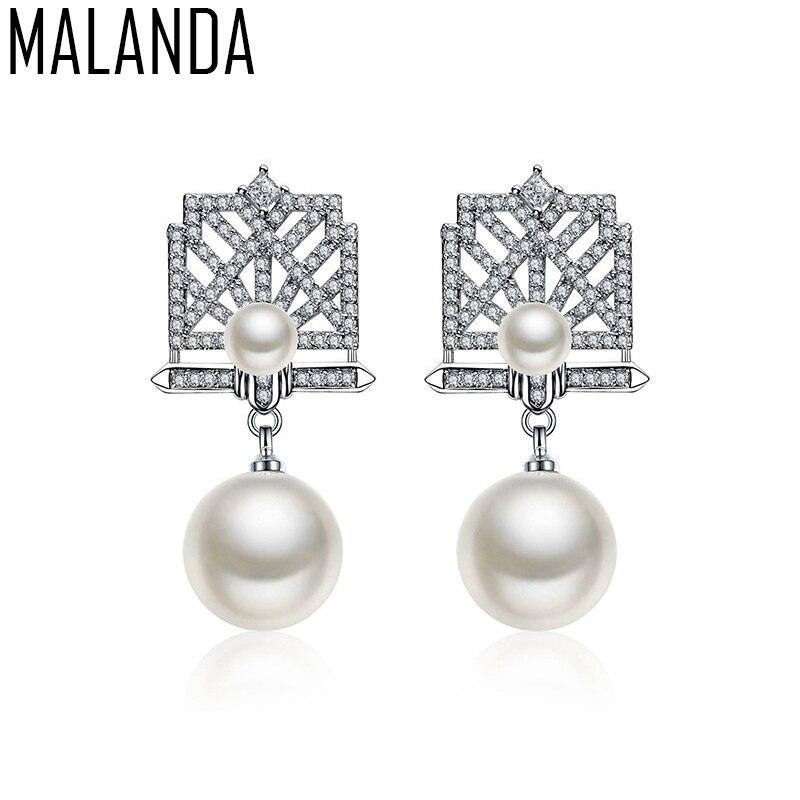 MALANDA Brand AAAA Round Pearl Stud Earrings For Women New Luxury Clear Zircon Earrings Fashion Wedding Jewelry Girl Bet Gift