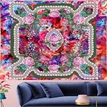 купить Psychedelic Pink Rose Mandala Tapestry Vintage Pattern colorful Flower Retro Wall Hanging Bohemian Home Decor  Art Wall Carpets по цене 729.47 рублей