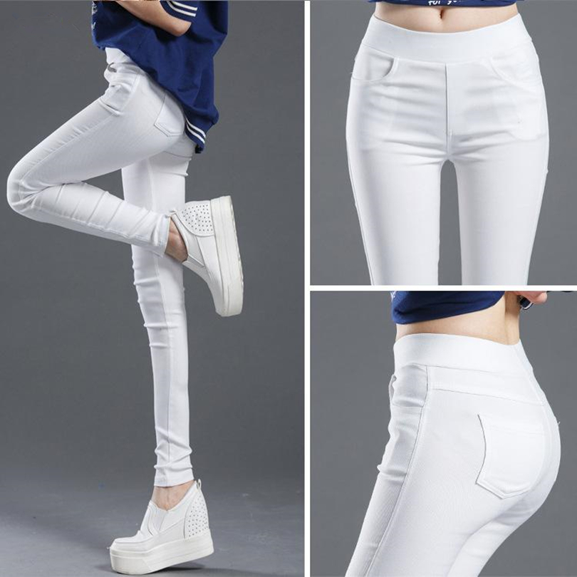 CHSDCSI Elastic High Waist Jeans Woman Pencil Pants Pockets Skinny Women Jeans Mujer Jean Plus Size Trousers Hot Candy Colors
