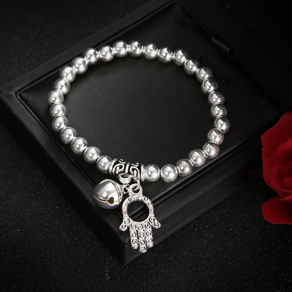 2018-Boho-Silver-Color-Fatima-Hand-Bell-Charm-Bracelet-for-Men-Or-Women-Elastic-Adjust-Bracelets (4)